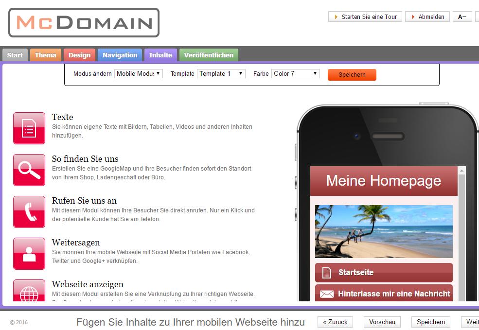 Screenshot Homepage-Baukasten Smartphone Editor